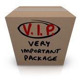 Envío vip muy importante paquete caja de cartón — Foto de Stock