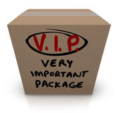VIP Very Important Package Cardboard Box Shipment — Stock Photo