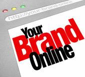 Su sitio de internet de palabras en línea marca la pantalla internet — Foto de Stock