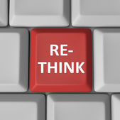 Re-Think Red Computer Keyboard Key Rethink Reconsider — Stock Photo