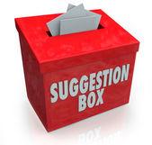 Förslag box idéer inlämning kommentarer — Stockfoto