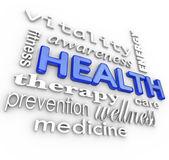 Hälso-och collage ord medicin bakgrund — Stockfoto