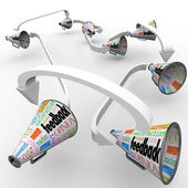 Feedback Bullhorns Megaphones Spreading Opinions Comments — Zdjęcie stockowe