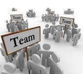 Team grupper tecken lagarbete — Stockfoto