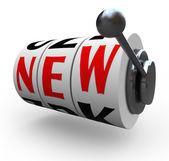New Word Slot Machine Wheels Innovation Change — Stock Photo
