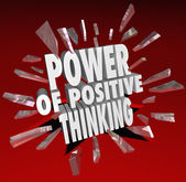 Moc pozytywnego myślenia słowa 3d mówiąc postawy — Zdjęcie stockowe