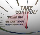 Toma control del velocímetro piensa grande quiere cambio — Foto de Stock