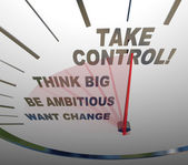Tomar controle velocímetro pense grande quer mudar — Foto Stock