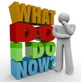 Co zrobić teraz myślenia osoby myśliciel pytanie — Zdjęcie stockowe