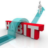 Overcoming a Habit Addiction Person Over Word Obstacle — Stock Photo