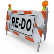 Re-Do Barricade Construction Sign Change Improvement — Stock Photo