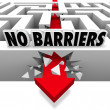 No Barriers Arrow Smashes Through Maze Walls Freedom - Stock Photo