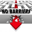 No Barriers Arrow Smashes Through Maze Walls Freedom - 图库照片