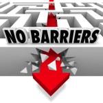 No Barriers Arrow Smashes Through Maze Walls Freedom — Stock Photo