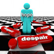 One Person Has Hope While Others Despair - Stock Photo
