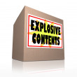Explosive Contents Package Cardboard Box Shipment Bomb - Stock Photo