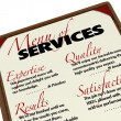 Menu of Services - Quality Expertise Results Satisfaction — Stock Photo