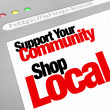 Support Your Community Shop Local Website Store Screen - ストック写真