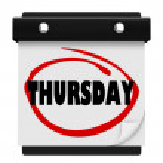 jeudi jour mur calendrier rappel semaine mot cerclé — Photo