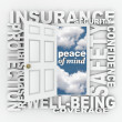 Insurance Word Door 3D Collage Protection Security - Foto Stock