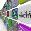Mobile Productivity Apps Software Working Remotely on the Go - Stock Photo