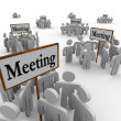 Royalty-Free Stock Photo: Many Meeting People Groups Gathering Around Different Signs