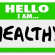 Hello I Am Healthy Words Nametag Sticker Physical Fitness - Stock Photo
