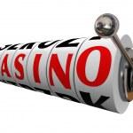 Casino Word Slot Machine Wheels Gambling Betting — Stock Photo