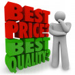 Royalty-Free Stock Photo: Buyer Person Thinking Best Price Vs Quality Choosing Priority