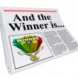 And the Winner Is Newspaper Headline Announcement Trophy - Stock Photo