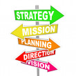 Strategy MIssion Planning Direction Vision Road Signs — Stock Photo