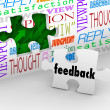 Feedback Puzzle Wall Words Customer Service Survey — Stock Photo