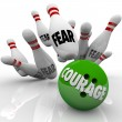 Courage Vs. Fear Bowling Ball Strike Pins Bravery — Stock Photo