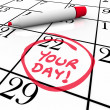 Your Day Words Calendar Special Date Circled Holiday Vacation — Foto Stock