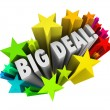 Big Deal Words Stars Fireworks Important News Sale — Stock Photo