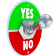 Toggle Switch Lever Yes No Approval or Rejection — Stock Photo #25225731