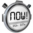Stock Photo: Now Word Stopwatch Timer Clock