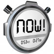 Now Word Stopwatch Timer Clock — Stock Photo