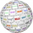 Hello Sphere Word Tiles Global Languages Cultures - Stock Photo
