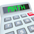 Math - Word on Calculator for Mathematics Figuring Answer - Stock Photo