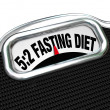 5:2 Fasting Diet Words on Scale Lose Weight — Stock Photo