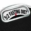5:2 Fasting Diet Words on Scale Lose Weight — Zdjęcie stockowe