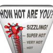 How Hot Are You Words Thermometer Attractive Sexy — Стоковая фотография