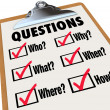 Royalty-Free Stock Photo: Survey Clipboard Research Questions Who What Where When Why How