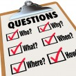 Stockfoto: Survey Clipboard Research Questions Who What Where When Why How