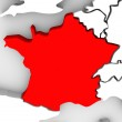 France Country 3d Abstract Illustrated Map Europe — Stock Photo