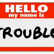 Hello My Name is Trouble Nametag Sticker - Stock Photo