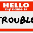 Hello My Name is Trouble Nametag Sticker — Foto Stock