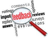 Retroalimentación lupa entrada comentarios valoraciones críticas — Foto de Stock