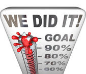 We Did It Thermometer Goal Reached 100 Percent Tally — Stockfoto